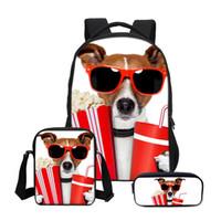 kız sırt çantaları köpekleri toptan satış-VEEVANV 3 adet Set Omuz Çantaları Kızlar Sevimli Köpek Baskılar Çanta Okul Sırt Çantası Çocuk Kombinasyonu Bookbag Moda Günlük Çanta