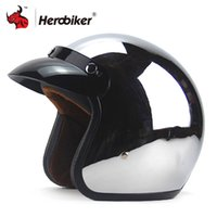 Wholesale helmet motorcycle bikers - New Vintage Retro Motorcycle Helmet Silver Plating 3 4 Open Face Helmet Cruiser Touring Chopper Biker Casco Moto DOT