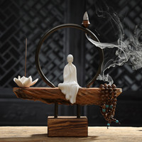 Creative Brief White Ceramic Monk Lotus Stick and Back Flow Incense Burner Wooden Base Home Art Decorative Ornaments Friend Gift