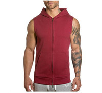 Wholesale hoodies vest clothes online - Sleeveless Mens Hoodie Wear Coat Fashion Designer Vest Cheaper Cardigan Sport Sweatershirt Tops Clothing M XXL