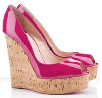 красная кожаная обувь для платформы оптовых-Сексуальные дамы Peep Toe + лакированная кожа + Клин высокие каблуки для женщин,мода Красное дно обувь насосы платформы красная подошва Обувь EU34-42