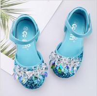 zapatos de la princesa azul de los niños al por mayor-Niños Cinderella Crystal Zapatos Chica Aisha Blue Princess Zapatos Piano Performance Shoes Silver Chair