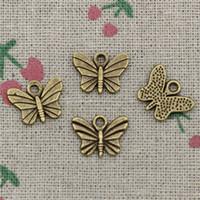 ingrosso scivolo farfalla per braccialetto-156pcs Charms farfalla 11 * 7mm bronzo antico pendenti dell'annata per monili che fanno collana braccialetto fai da te