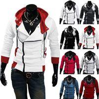 katilin inançlı ceketleri xl toptan satış-Şık Assassins Creed Hoodie erkek Cosplay Assassin Creed Hoodies Serin Ince Ceket Kostüm Ceket