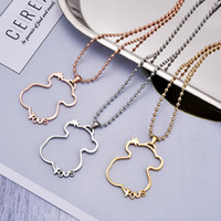 Wholesale Gold Pearl Chain Designs - 316L Titanium Steel big hollow bears Pendant Rose gold plated necklace New Unique design jewelry for Women with chain El oso de collar