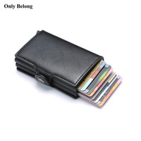 monedero de aluminio monedero al por mayor-Sólo marca Belong Antirrobo rfid metal hombre ID de crédito titular de la tarjeta de visita billetera cubierta de aluminio para protección de cartera Cuero