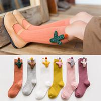 calcetines de color caramelo al por mayor-2018 Brand New Child Kids Cute Baby Wings Cactus calcetines Girl Boy Candy color Pactwork tubo calcetines 100% algodón calcetines de bebé 1-8Y