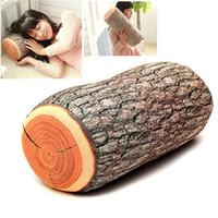 logs de travesseiros venda por atacado-1 Pcs Lycra + Poliestireno (recheio) Engraçado Madeira Natural Log Throw Pillow Voltar Almofada Macia Pescoço Do Carro Home Decor Dormir 37x17 cm