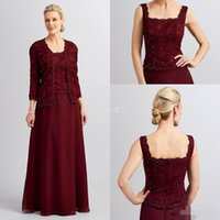 Wholesale Sheath Column Square Chiffon Lace - 2018 Elegant Mother Of the Bride Dresses Square Neck Burgundy Chiffon With Long Sleeves Jacket Wedding Party Dress Plus Size Evening Gowns