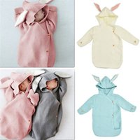 Wholesale hand knitted wool bags resale online - 74cm Newborn Hooded Swaddle Wrap Baby Rabbit Ear Knit Swaddling Blanket warm Wool Toddler Sleeping Bag Colors AAA1185