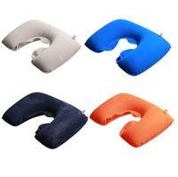 almohada reposacabezas para cuello al por mayor-Gran almohada aeronáutica en forma de U Cuello Reposacabezas Cuello inflable Almohada para la cabeza Cuello al aire libre No elija el color T4H0203