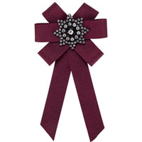 Wholesale indian clothing free shipping online - Pin Brooch Women new design Silk ribbon canvas Crystal Mosaic jewelry Manual Bow Brooch Clothing Accessories