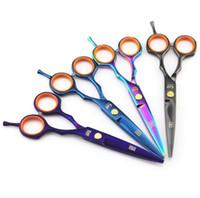Wholesale kasho hair cutting scissors for sale - Kasho inch CR hair cutting thinning scissors with colors balck blue rainbow abd purple forfex