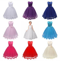 Wholesale Lace Mid Calf Wedding Dress - DHL 2018 Girls Dresses Children Princess Pageant Formal Wedding Dress Party Kids Clothes Girls Flower Long Dress Bridesmaid Ball Gown
