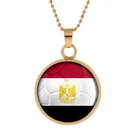 Wholesale egypt crystal - New Three-dimensional 2018 World Cup Egypt Necklace Pendant colorful pendant Glass Cabochon Dome Necklaces jewelry Bestselling customed