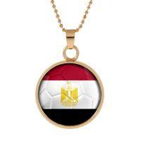 ingrosso gioielleria egiziana-Nuovo tridimensionale Coppa del mondo 2018 Egitto Collana pendente colorato ciondolo in vetro cabochon cupola collane gioielli più venduti personalizzato