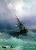 ingrosso dipingere le onde marine-Ivan Aivazovsky - Tempest seascape waves ship, Perfect Hand-painted Seascape Art pittura a olio su tela Multi dimensioni Sc09