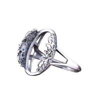 montajes de anillo de boda de la vendimia al por mayor-925 Sterling Silver Vintage Ring 15x20MM Oval Cabochon Semi Mount Ring Setting DIY Stone Engagement Wedding Anniversary Gift