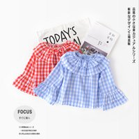 Wholesale Lotus Classic - 2018 INS 2 color new style baby kids cotton plaid Lotus leaf collar long pagoda sleeve T-shirt kids spring autumn clothing free shipping
