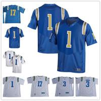 трикотажные изделия американского футбола сшитые оптовых-Пользовательские UCLA Брюинз колледж футбол Джерси голубой белый прошитой персонализированные любое имя номер Juels Бертон Розен Modster Айкман Джерси