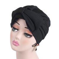 bandanas de algodão venda por atacado-Mulheres muçulmanas Algodão Elástico Bowknot Turbante Chapéu Câncer Chemo Gorros Caps nó Bandanas Headwear Bonnet Queda de Cabelo Acessórios