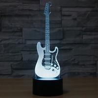 гитарный ночник оптовых-Творческий 3D свет электрогитара Модель Иллюзия 3d Лампа LED 7 Изменение цвета USB сенсорный датчик настольный свет Night Night