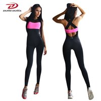 Wholesale Tights Jumpsuit White - Fitness Sport Suit Women Tracksuit Yoga Set Backless Gym Running Set Sportswear Leggings Tight Jumpsuits Workout Sports Clothing