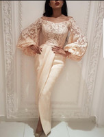 Wholesale arab strap picture resale online - Puffy Sleeves Prom Dresses Pregannt Evening Dresses Off the shoulder Long Sleeves Saudi Arab Dubai Lady Party Evening Gown