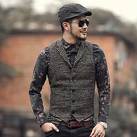 Wholesale plaid suit men vintage - 2018 Mens winter slim plaid European style vintage suit vest Men new woolen vest fashion brand design waistcoat casual lapel