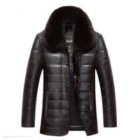 lüks ceketler erkekler toptan satış-ENWAYEL Kış Lüks Aşağı Ceket Erkek Deri Ceket Erkek Aşağı Ceket Ceketler En Kaliteli Rüzgar Geçirmez Sıcak Fox kürk yaka EW121