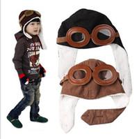 sombreros de los niños para la venta al por mayor-Venta caliente Bebé Niño Niños Piloto Aviador Cap Fleece Warm Hats Earflap Gorro para Niño Niña Fantasias Infantil Bien c125
