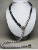 ingrosso disegni perla nera-Vendita calda di trasporto libero Alatest design south sea nero grigio collana di perle naturali 32
