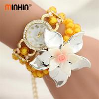 Discount blue glass beads flowers - MINHIN 4 Colors Beads Wrist Bracelet Watches Fashion Big Flowers Women Quartz Watch Montre Femme