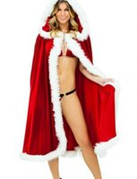 Wholesale santa claus woman costume online - Red Christmas Girl s Cloak Miss Claus Pleuche Cape Xmas Velvet Costume Women girls Hooded Xmas Santa Claus Stage Show Party Clothing