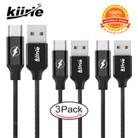 Wholesale Reversible Usb - Black USB TYPE-C Cable Kiirie 3Pack 2x6ft 1x3ft Nylon Braided Cord Fast Charger with Reversible Connector for LG Nexus Google Huawei Macbook