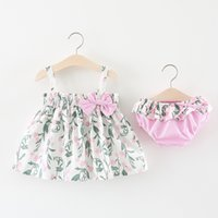 Wholesale little girl cute outfits - Cute Girls Floral Braces Tops+Pants Outfits Summer 2018 Kids Boutique Clothing 1-4T Little Girls Bow Bodices Tops Set with Pants