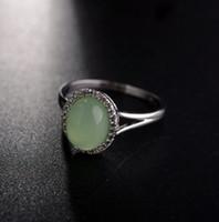 jade pedra anéis de noivado venda por atacado-Aniversário de noivado casamento roupas acessórios três anéis de pedra ouro branco 18k preenchido verde tamanho do anel de jade 7 8 9