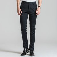 Wholesale flat front pants - Men's Slim Fit Wrinkle-Free Casual Stretch Dress Pants Comfortable Soft Straight Leg Flat Front Trousers Suit Separate Pant