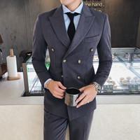 siyah resmi ceket mens toptan satış-Çift göğüslü blazers mens 2018 Gri blazers masculino Slim Fit Siyah chaqueta hombre resmi mens iş giyim Casual Ceketler