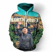 Wholesale Winter Fashion Korea Men - 2017 new fashion men women Cool creative 3D print North Korea Kim Jong-un Tee hot Style Long sleeves Winter Loose Thin Hooded Hoody Top
