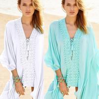 Wholesale cotton beach sarongs - Pareo Beach Sarongs Summer Women Loose White Black Blue Bandage Cotton Lace Crochet Beach Dress Tunic Cover Up Swimwear Swimsuit