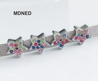 encanto de la estrella de colores al por mayor-20pcs accesorio de bricolaje 13MM * 13MM Full Colorful Rhinestone Star Slide Charm Bead DIY 8MM Collar de perro Cat pulsera