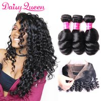 Wholesale brazilian bands - 8A Pre Plucked 360 Lace Frontal Closure With 3 Bundles Brazilian Loose Wave Virgin Unprocessed Human Hair Weave With Full Lace Band Frontal