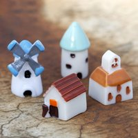 Wholesale toy castles for kids - Wholesales Mini Castle Windmill Church House Moss Micro Landscape Home Decor Kids Toys Christmas Gifts Novelty Items Toys for Adults