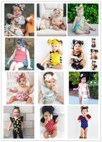 Wholesale Bee Headbands - 12 Designs Baby Rompers Headbands Fox Honey Bee Watermelon Flora Dots Striped Star Printed Lace Triangle Jumpsuit Infant Girls Outfit 6-24M