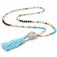 Wholesale semi precious turquoise beads - Natural Crystal Pendant Beaded Long Amazonite Beaded Necklaces Semi Precious Beads Necklaces Lava-rock Turquoise Bead Agate Tassel Necklaces