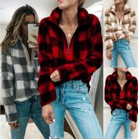 Wholesale sweater colors turtleneck for sale - 3 Colors Women Fleece Sherpa Sweater Plaid Sweatshirt Fashion Pullover Casual Woman Lattice Tops Maternity Clothing CCA10726