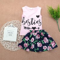 Wholesale Child Round Skirt - Kids Girls Clothing Sets Sleeveless Tshirt and Tutu Skirt Letter Printed Round Neck Flower Summer Children Clothes