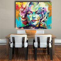 Wholesale modern oil portraits - Marilyn Monroe Portrait Oil Painting Abstract Modern Wall Painting on Canvas Art Prints for Living Room Home Decor No Frame