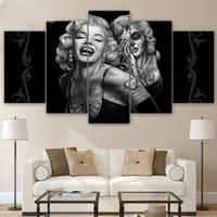 marilyn monroe duvar posterleri toptan satış-HD Baskılı 5 parça tuval sanat Marilyn Monroe şeker kafatası Boyama odası dekorasyon posteri resim tuval sanat duvar dekor
